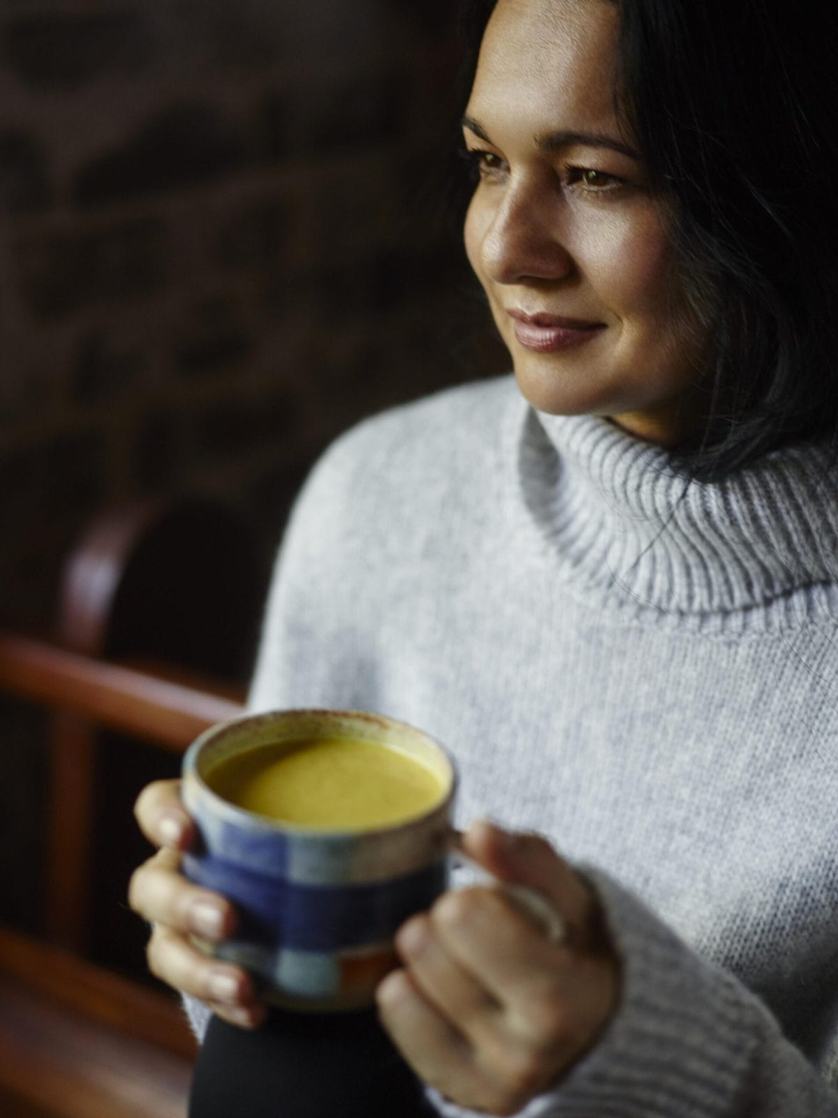 Tess Masters Drinking Turmeric Milk